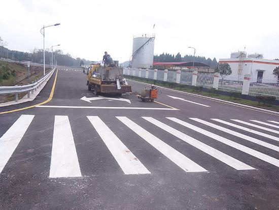 山东道路标线施工图片
